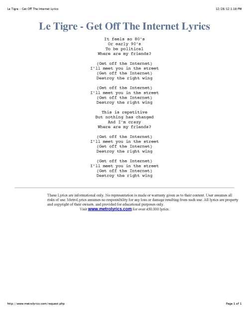 Le Tigre - Get Off The Internet Lyrics